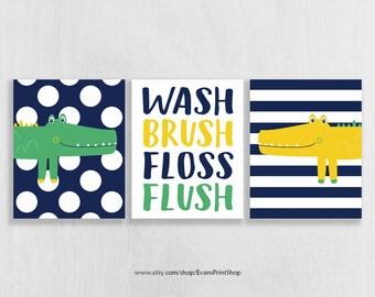 CANVAS Alligator Bathroom Decor - Wash Brush Floss Flush - Alligator Bathroom Art - Bathroom Rules - Bathroom Decor Kids - Bathroom Art Boy