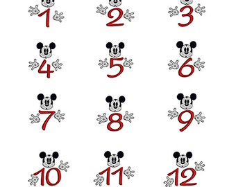 MICKEY MOUSE Birthday Numbers 1-12 Machine Embroidery Design Set Instant Download