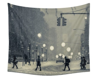 Snow City Tapestry, City Print, City Tapestry, Winter Wall Art, Christmas Photo, Wall Tapestries, Wall Decor, Landscape Photography, Vintage