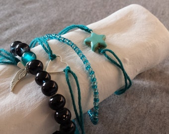 Blue/black bracelet set