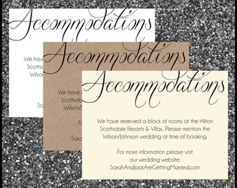 PRINTED Country Rustic Wedding Invitation Accommodation Card Oversized Script Font Names Romantic Elegant