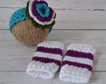 Crochet baby set, crochet baby headband, crochet girl set, crochet legwarmers, crochet baby girl headband, baby headband, baby legwarmers