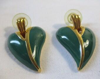 Vintage Enamel Heart Shape Earrings Marked JS