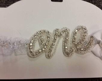 "Baby girls first birthday headband ""One"" - Birthday girl"