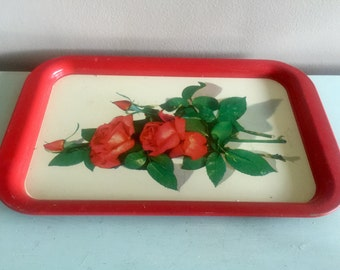 Vintage red rose tray, midcentury metal tray, red bar tray, floral bedroom tray, red metal tray