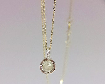Grey diamond pendant with sunburst markings 6mm rose cut diamond pendant silver with a gold chain (6) Free Shipping