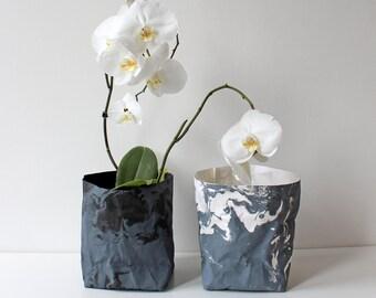 Marble design paper bag, washable paper, storage basket, paper bin, paper bag, monochrome, grey marble, home decor, modern storage