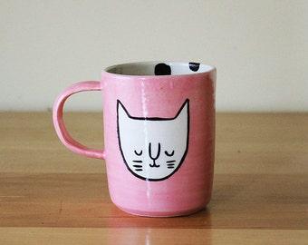 Pink Cat Face Mug with Black Polka Dots on Interior