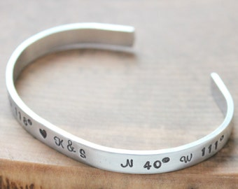 Personalized Skinny Cuff Hand Stamped, Personalized Message Cuff, Custom Message Bracelet, Quote Cuff, Names, Coordinates Bracelet