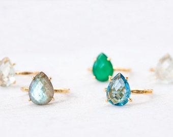 London Blue Topaz Ring - Gemstone Ring - Stacking Ring - Gold Ring - Tear Drop Ring - Prong Set Ring