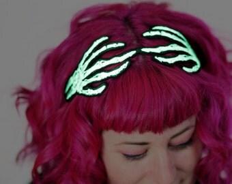 Glow in the Dark Skeleton Hands Headband, Wired Hair Band