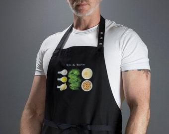 Chef aprons for the modern home chef. For men and women. (Pesto di Basilico, Italy) FREE SHIPPING