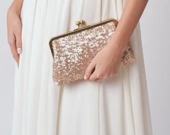 Blush Bridesmaid Clutch Purse | Rose Gold Sequin Clutch | Pink Clutch | Monogram Clutch [Ella Clutch]