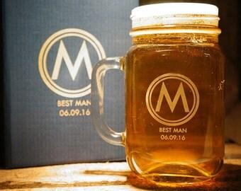 Groomsmen Gift, Personalised Beer Glasses, Custom Engraved Mason Jar Glass, Gifts for Groomsmen, Gifts for him MJ1