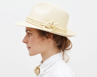 Straw Fedora with Cotton Rope