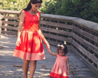 Mommy and me dresses, Mother daughter matching dress, Mommy and me outfits, Apricot & Coral dress,  (each sold separately), JOEY et CHLOE