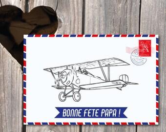Carte Fête des Pères thème avion vintage pour papa voyageur, carte à imprimer, format 10x15 cm, recto, impression pro sur demande