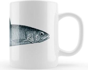 Fish Mug, vintage illustrated fish art gift UK, fishing fan Father's day present, Fishing lover gift idea, Fisherman present, Fishers mug,