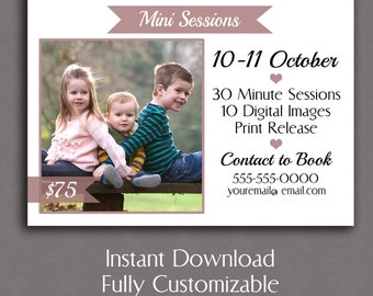 Photography Mini Session Template, Online marketing template, board set, Promotional Photographer cards, Instant Download for minisessions