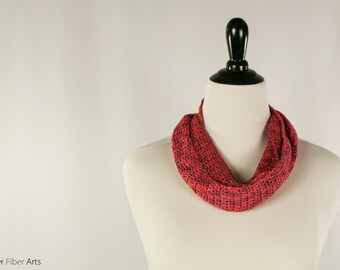 Cinnamon Crochet Skinny Scarf: A Red and Brown, Handmade, Sequined, Silky Piece by Annie Webster