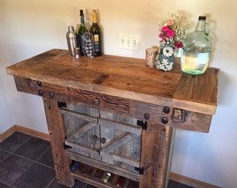Reclaimed barn beam wine hutch
