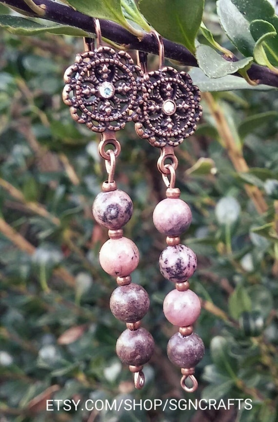 Rhodonite copper earrings, Rhodonite earrings, Rhodonite beads