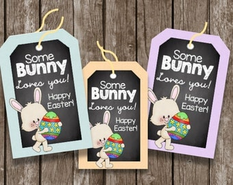 50% OFF SALE Easter Tags - Labels - Cards - Round - Instant Download - Printable - Bunny - Basket