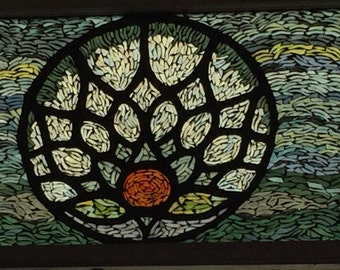 Suncatcher - lotus flower mosaic on vintage window