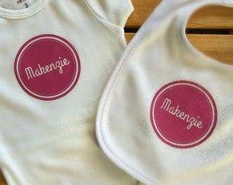Personalized Baby Bib and Onesie Gift Set  – Name Circle
