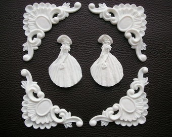 Set of 6 Mouldings Shabby Chic Embellishments .Vintage appliques.Resin ornate.Furniture appliques.