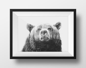 Grizzly Bear Black and white forest home decor print