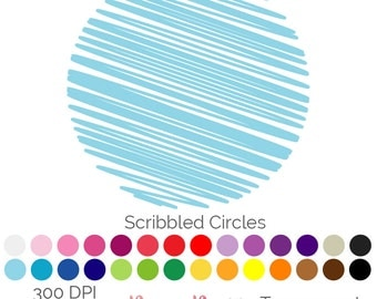 Scribbled Circle 28 Colours Clip Art Circular PNG JPEG Commercial Use Scrapbooking Instant Download