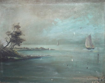 1963 oil painting impressionist seascape signed