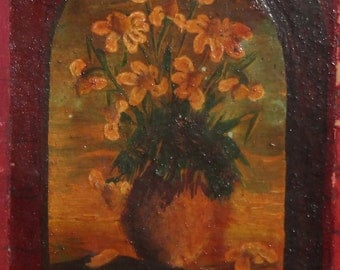1984 Still life flowers oil painting signed