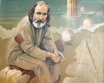 2001 oil painting sitting man portrait & seascape