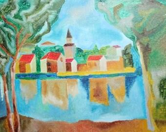 Modernist castle landscape oil painting signed