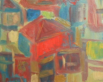 Abstract house oil painting
