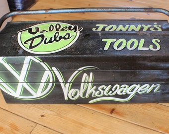 Personalised Tool Box Patina Rusty Hotrod Ratrod VW Volkswagen Pinstripe Signwriting Gift Man Cave Classic Vintage Retro