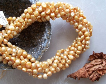 "Light Golden Tangerine Orange Dyed Cultured Freshwater Pearl Nugget Beads ~ Full 16"" Strand ~ 6mm-8mm"