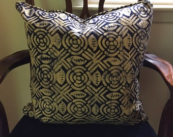 African Batik Pillow with Cording