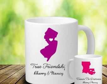 True Friendship Knows No Distance Mug - Long Distance Mug - 2 States Mug - Personalized Coffee Mug - Long Distance Best Friend - BBF Gift