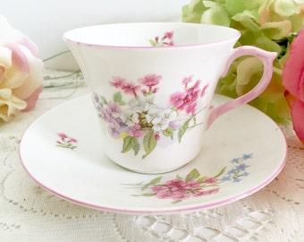 "Vintage Shelley ""Stocks"" Teacup and Saucer: English Teacup, Tea Party Teacup, Floral Teacup, Shelleu Teacup"