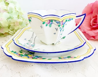 Vintage Shelley Queen Anne Balloon Tree Trio - Tea Party Trio, Rare Shelley Trio, English Teacup Trio