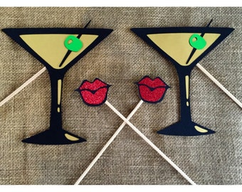 Photo booth props- lips and martinis