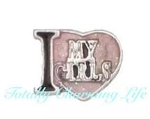 I Love My Girls Floating Charm fits Living Memory Floating Locket Owl Necklace Jewelry Love Mother's Day Mother Family