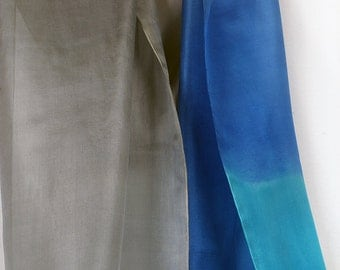 Hand painted silk scarf. Blue grey abstract scarf. Long fashion scarf. Mothers Day gift. Cubism inspired scarf. Ombre silk handpainted scarf