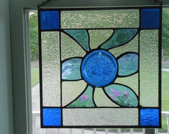Old Man Wind Stained Glass Hanging Panel