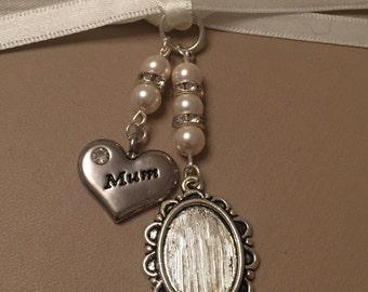 Bridal Bouquet Oval Photo Memory Charm Wedding Swarovski Beads Mum
