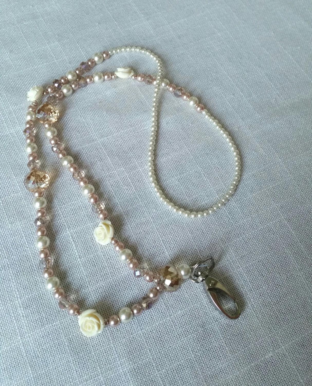 Id Card Beads: LANYARD ID HOLDER Beaded Lanyard Pearl Lanyard Pink