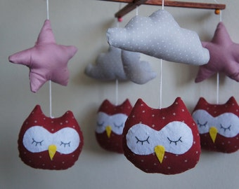 owls stars Moon and clouds baby mobile